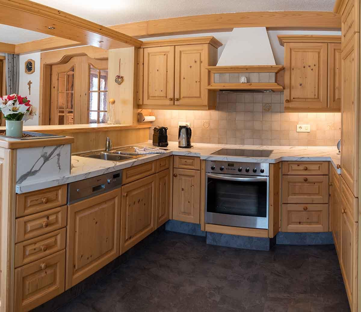 Küche im Ferienhaus Alpsteig